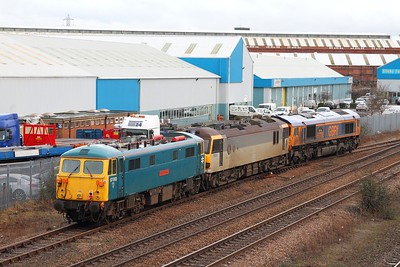 87002+92010+66736 on the 0Z23 Doncaster to Loughborough Brush at Loughborough on the 19th February 2015 5
