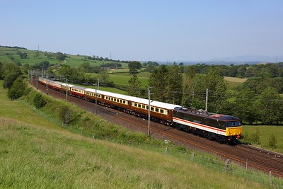 87002 in INTERCITY livery works the 5Z86 Crewe to Carlisle at Lambrigg on 25 June 2020  LSL, Class87, Cumbria, ECS