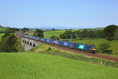 88010 powering the 4S43 Daventry to Mossend at Docker viaduct on 15 August 2020  Cumbria, DRS, Class88