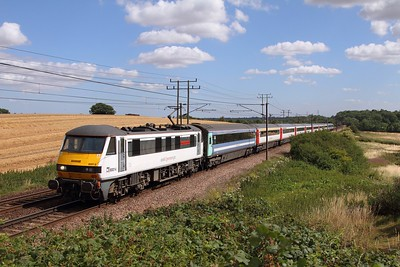 90014 on the 1P29 1030 Norwich to London Liverpool Street at Baylham on the 4th August 2015