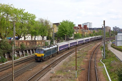 92010 tnt 87002 on the 5E39 London Kings Cross to Wembley at Caledonian Road on the 6th May 2019