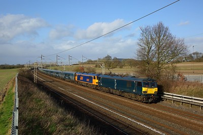 92023+failed 92020 on the 1M16 2045 Inverness and Aberdeen to London Euston running about 378 minutes late at Cow Roast south of Tring on the 1st February 2020