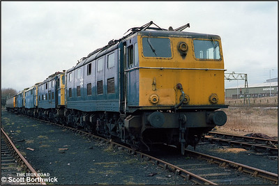 76051, 76030, 76043 and 76050  at Reddish TMD (RS) on 05/03/1983. The front two locomotives would be towed across the Pennines on 10/03/1983 to Tinsley, and forwarded to CF Booth's at Rotherham on 15/03/1983 for scrapping. The rear two locos would be moved to Ashbury's on 15/03/1983 where they remained for eight months before being dragged across the Pennines to CF Booth's at Rotherham in November 1983 for scrapping.