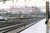 """Class 86/2 Electric Locomotive number 86 209 named """"City of Coventry"""" arrives at London Euston with the 1310 from Liverpool Lime Street.  Class 86/4 Electric Locomotive number 86 418 is stabled behind.<br /> 16th March 1989"""