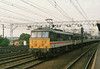 """Class 86/2 Electric Locomotive number 86 215 named """"Joseph Chamberlain"""" passes Stratford with the 1445 Norwich to Liverpool Street.<br /> 17th May 1989"""