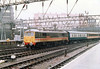 """Class 86/2 Electric Locomotive number 86 234 named """"J B Priestley OM"""" arrives at London Euston with the 1348 from Birmingham New Street.<br /> 16th March 1989"""