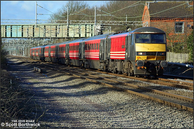 90013 'The Law Society' works a London Euston bound service at Cathiron on 04/02/2003. Due to the adverse snowy weather being experienced in Scotland, locomotives were hauling, rather than propelling trains, resulting in a large number of sets either facing the wrong way or having the locomotive hauling the DVT on the date this photograph was taken.