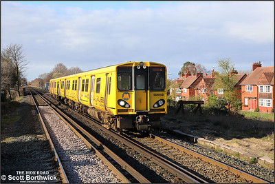 508143 approaches Port Sunlight whilst forming 2Y20 1519 SuO Ellesmere Port-Eleesmere Port via Liverpool Central on 24/03/2019.