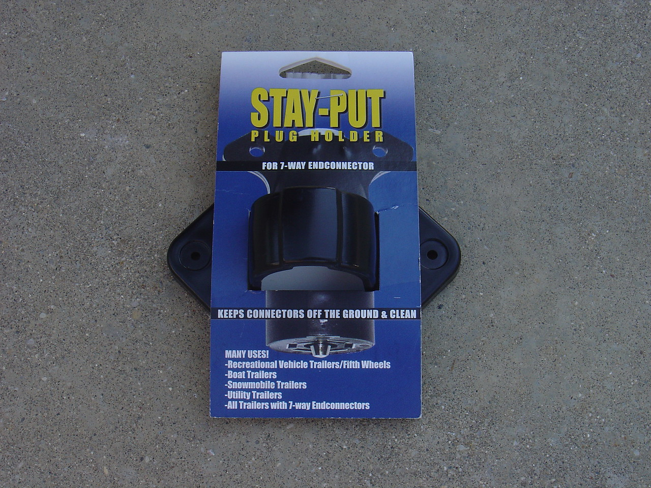 "Ths ""Stay Put"" plug holder is designed to keep the plug off the ground and clean"