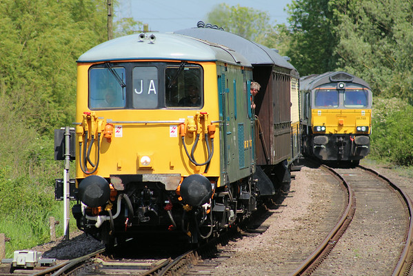 73001 approaching Orton Mere on the 1410 Peterborough (NVR) - Wansford. 17.05.14