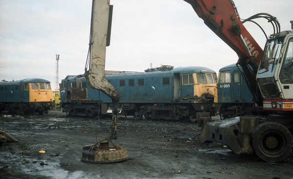 81003 amongst others await their fate at Coopers Scrapyard, Sheffield.