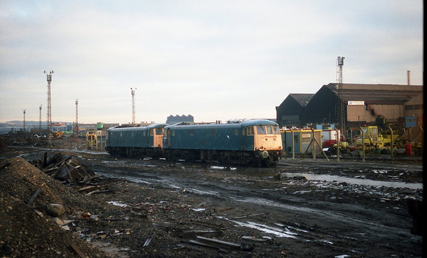 81009 & 81012 behind at Coopers Metals, Sheffield. 11.91