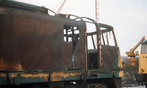 The burnt out cab of 81003. 11.91