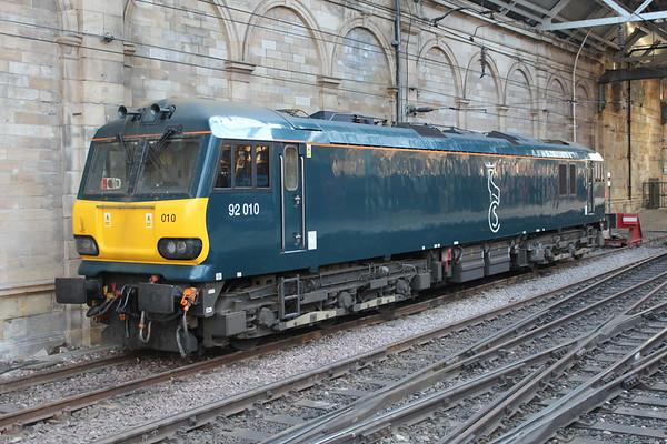 92010 in Klondyke Sidings at Edinburgh Waverley. 25.02.18