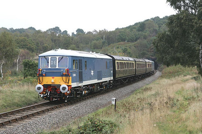 E6006 and E6005 emerge from Foley Park tunnel 'top & tailing' the 1127 Kidderminster-Arley shuttle on 01/10/2004 during the Severn Valley Railways 2004 Autumn Diesel Gala.