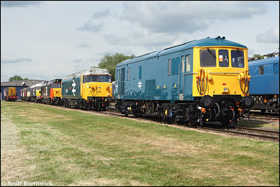73006 resplendent in BR blue on display at Long Marston open day on 07/06/2009.