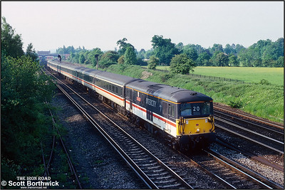 73212 'Airtour Suisse' arrives at journeys end with the 1800 London Victoria-Gatwick Airport service on 26/05/1992.