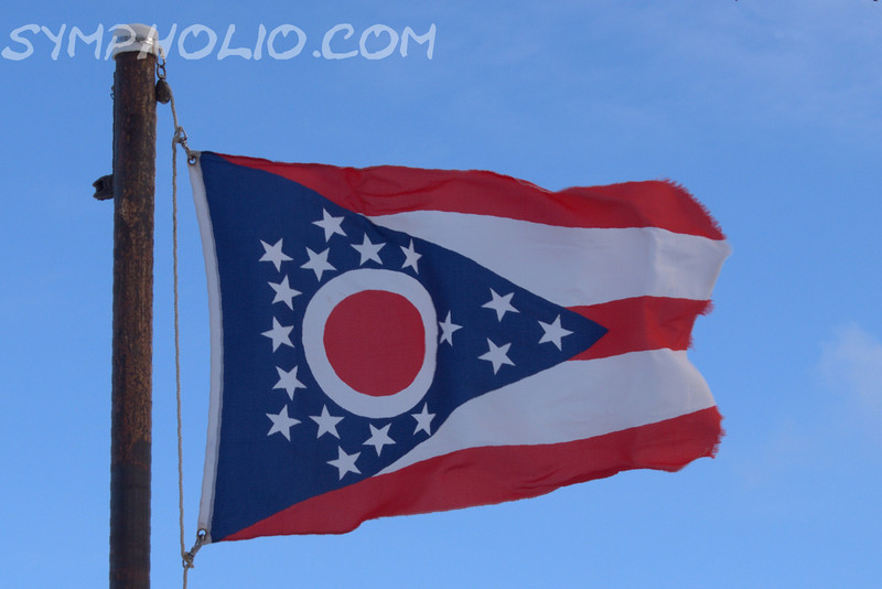 "State of Ohio Flag<br /> <br /> Thomas Alva Edison<br /> Born February 11, 1847<br /> Milan, Ohio<br /> <br /> ""Be courageous! Whatever setbacks America  has encountered, it has always merged as a stronger and more prosperous nation.... Be brave as your fathers before you.  Have faith and go forward.""  <br /> <br /> ~Thomas Alva Edison"""