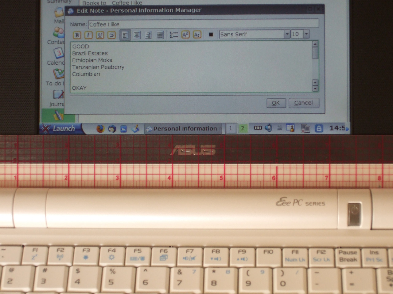 Photo of text in the Notes section of the PIM with a ruler to match.