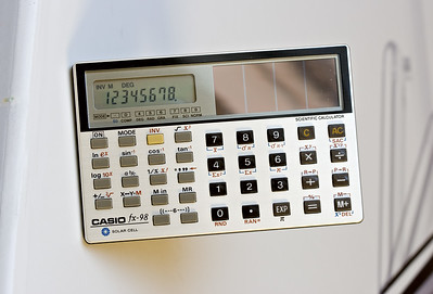 Casio fx-98. 1984. Card sized solar powered scientific calculator. You just don't get 'luxury' calculators like this now. This has incredibly tiny keys but that didn't stop me using it during my A-level maths examination. Seems this is a pretty rare and desirable calculator. One like this sold for nearly $500 on ebay recently. Wonder if it was in pristine condition like mine, with the wallet, original box, instructions etc...