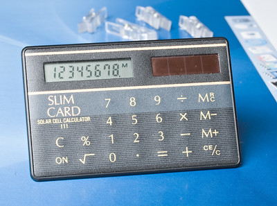 SLIM CARD 111. 1986. Cheap OEM card calculator with Casio-style graphics. The market was flooded with these budget card models in the mid 1980s, usually selling for well under a fiver. Works perfectly well.