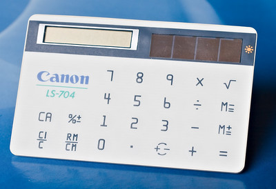 Canon LS704. 1984. Slim card calculator. Only half works now, unlike the gold version I also have. Good job Canon's cameras are better than their calculators!
