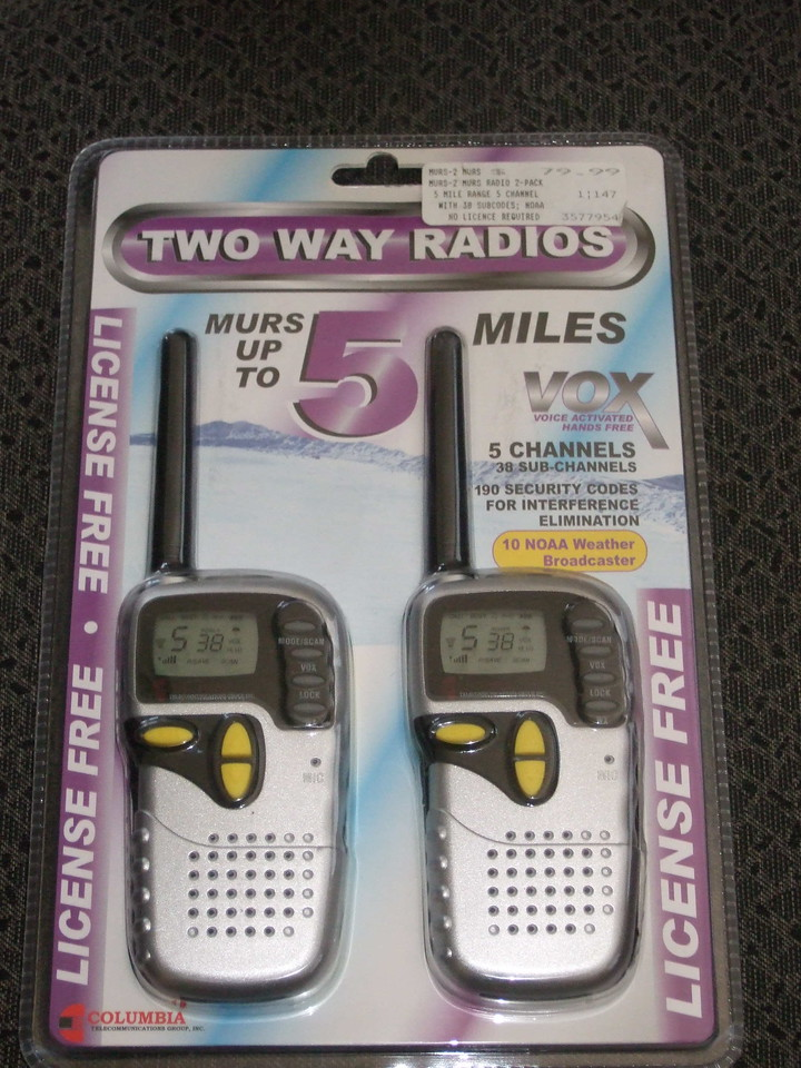 This is the package the radios came in - a display blisterpak. The numbers and icons shown on the radios' displays are printed on a clear plastic overlay which I peeled off. The radios say they are made in China.