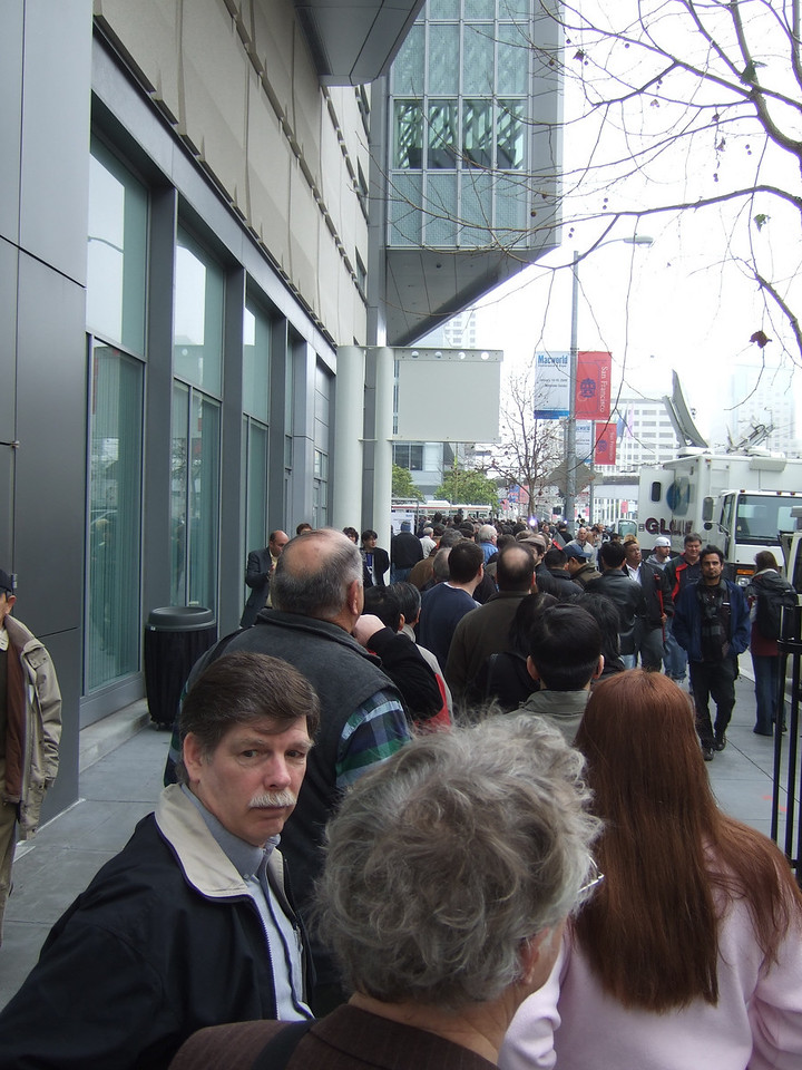 lines to the front. Finally someone said forget badges, just show your barcode and you get in.