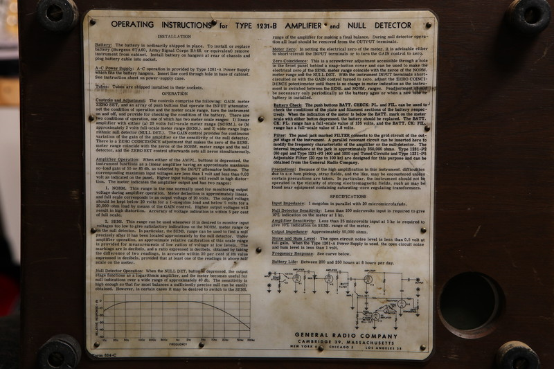 GenRad 1231B Amplifier and Null Detector