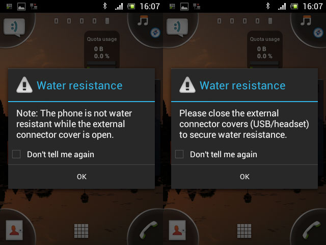 Water Resistance warning