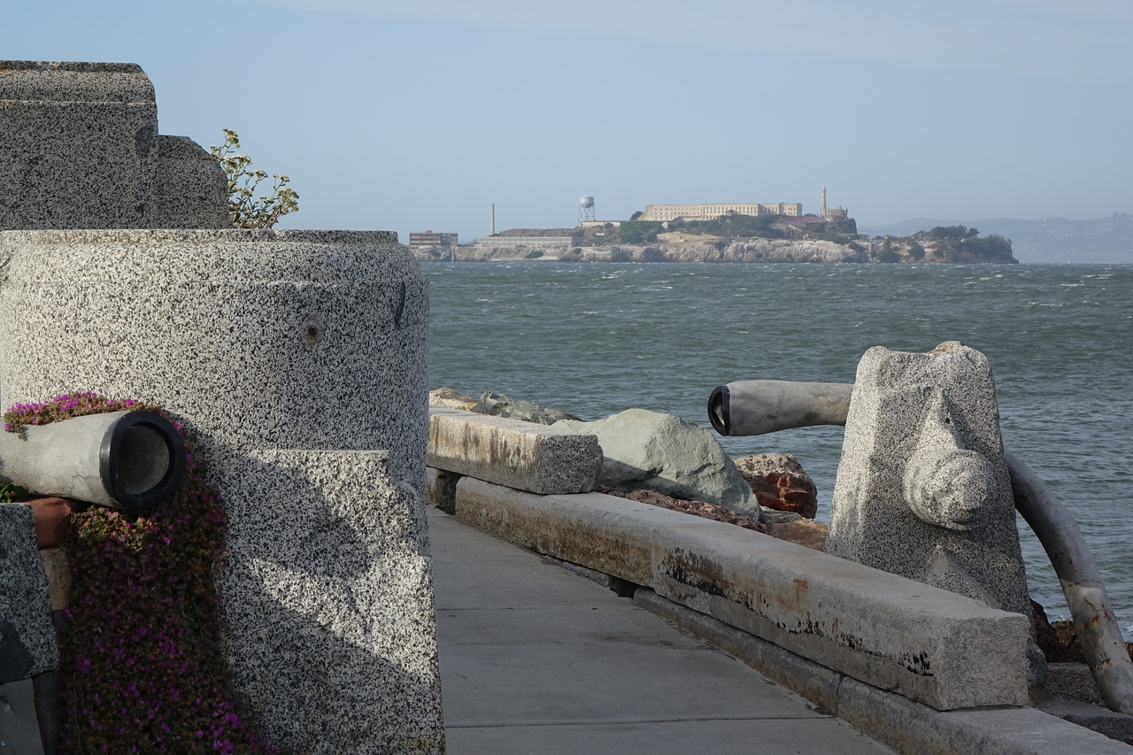 Wave Organ and Alcatraz • Sony RX10 at 91mm focal length, f8