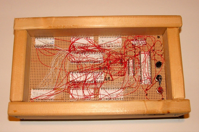 This is the back side of a stand-alone 8088 system to show the wire wrapping. This doesn't look as complex as I often recall it being.