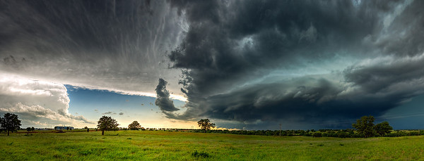 """Incoming""  South-Central Oklahoma  One of my favorite hobbies after photography is storm chasing.  Experiencing the power and beauty of thunderstorms is something that is really hard to translate into images. Technical Details: Shot with Canon 6D and Canon 24-105Lmm lens at F10 and 1/8.    Panorama created from 21 vertical bracketted shots."