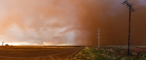"""Texas Dust Storm""  West Texas  One of my favorite hobbies after photography is storm chasing.  Experiencing the power and beauty of thunderstorms is something that is really hard to translate into images Technical Details: Shot with Canon 6d and Canon 24-105mm lens at F10 and 1/8.    Panorama created from 10  vertical bracketted shots."