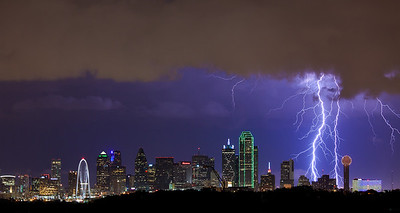 """""""Electric Sky""""  Dallas, TX In 2011 in Dallas we had over 70 days where the temperature was 100 or more.  In 2012 we had a welcome break in June and August with a lot of rain and storms.  I shot this image in mid August 2012 and the lightning was incrdible! Technical Details: Shot with Canon 5d MK2 and Canon 70-200Llens."""