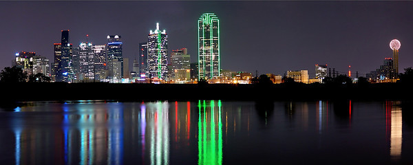"""""""Dallas Reflected""""  Dallas, TX This is one of my earliest shots of downtown Dallas.  This small lake is located on Sylvan avenue and offers a beautiful view of the skyline.  Technical Details: Shot with Canon 5d MK2 and Canon 10-22mm lens.    Panorama created from 5 bracketted horizontal shots."""