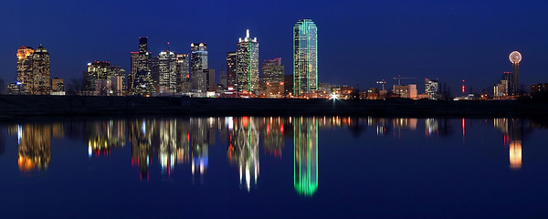 """""""The Blue Hour""""  Dallas, TX A late evening shot of the Dallas skyline reflected in a lake on Sylvan avenue.  Technical Details: Shot with Canon 10D and Canon 20mm lens.    Panorama created from 6 horizontal shots."""