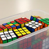 A box of Rubik's Cubes for the contest.
