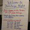 Sign welcoming guests to school heritage event.