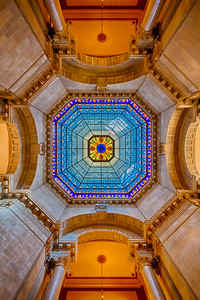 State Capitol building of the U.S. state of Indiana. Stained glass domed ceiling.