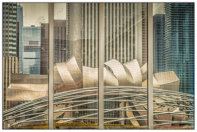 Chicago, Illinois. A view of Millenium Park through a window in the Art Institute.
