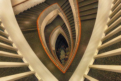 Graphic composition of the spiral staircase at the Museum of Contemporary Art, Chicago, Illinois.