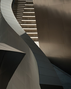Los Angeles, California.  The Disney Concert Hall exterior close-up of stairway.