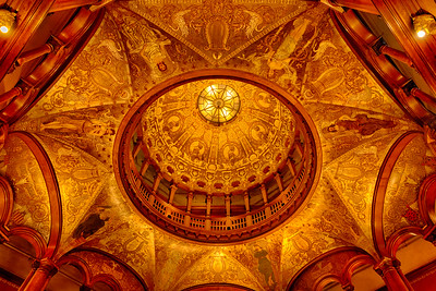 The ornate ceiling of Flagler College, St. Augustine, Florida.