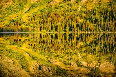 Two Medicine Lake reflection, Glacier National Park, Montana.