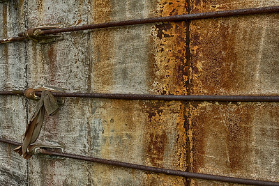 USA, IN. Close-up detail of rusted grainery storage structure