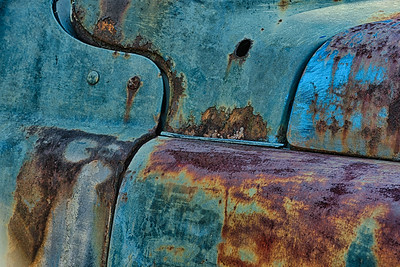 USA, White Georgia.  Abstract close-up of rusted car in Old Car City.