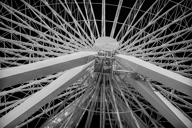 Chicago, Illinois.  Close-up of a ferris wheel at Navy Pier on Lake Michigan.