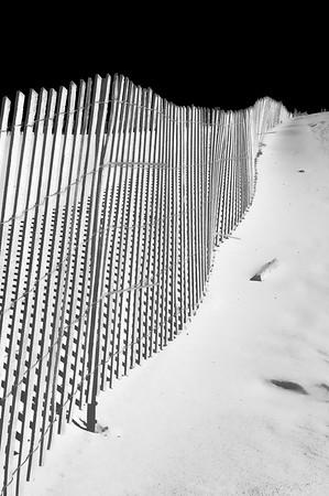 Close-up of a dune fence along Lake Michigan.