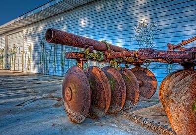 USA, Indiana. Antique farm cultivator